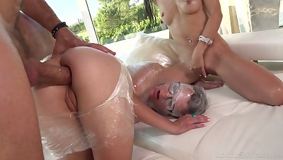 Plastic wrap porn chapter featuring two nerdy girls in glasses