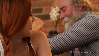 Extraverted and impudent Czech nympho Charli Red lures older tramp for wild fuck