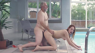 Old and young fucking by the pool with sexy redhead Sweets Red