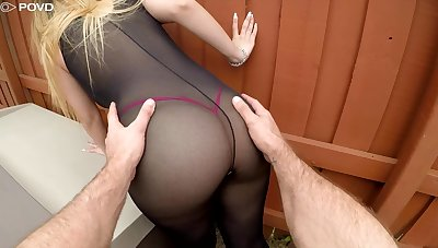 Sexy drab in ripped body stockings Serena Skye gets her cunt nailed