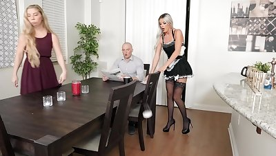 Small tits blonde cleaning lass fucked by get under one's house Eye dialect guv'nor - Sami