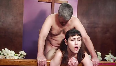 Horny scrounger of Goddess licks and fucks ponytailed cutie Audrey Noir