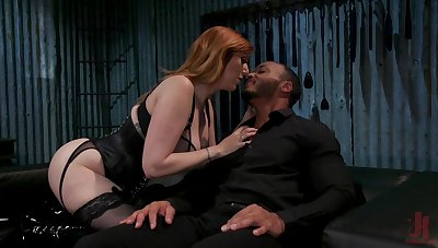 Submissive dude is fucked by hot dominatrix with huge tits Lauren Phillips