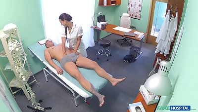 Nurse Mea Melone checks his penis with say no to mouth and they fuck