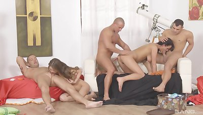 Three trampy women celebrate hot sex at an orgy sex party
