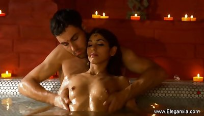 Relaxing His Indian Girlfriend With Touch