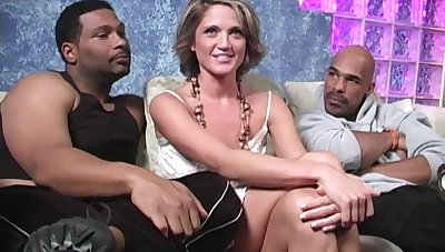 Blond bitch Spring Thomas hooks up with several big raven guys